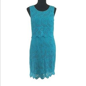 Antonio Melani Dress Turquoise Embroider Dress